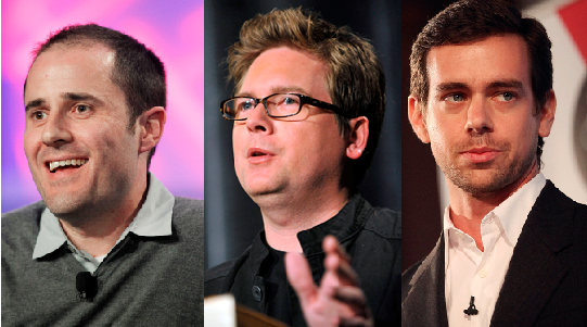 Twitter was founded in March 2006. Company founders were, from left: Evan Williams, Biz Stone and Jack Dorsey.