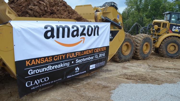 Groundbreaking ceremonies were conducted Tuesday for Amazon.com's 2.3 million-square-foot fulfillment center in Kansas City, Kan.