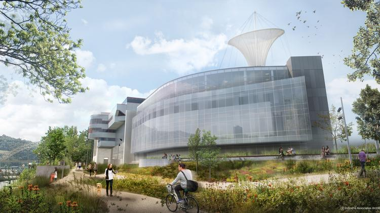 Exterior view of the proposed addition to the Carnegie Science Center.