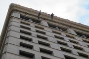 Participants who rappel down the building must sign a waiver beforehand.