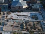 See construction of the Milwaukee Bucks' new arena from above