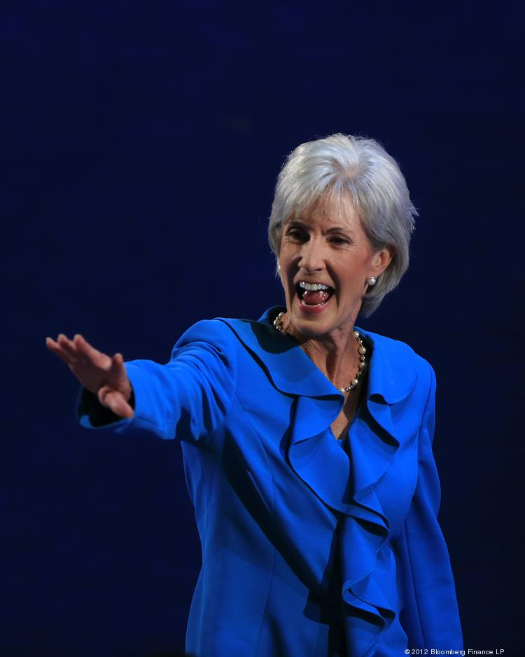 Kathleen Sebelius, U.S. health and human services secretary, gestures after speaking at the Democratic National Convention (DNC) in Charlotte. The federal government is paying closer attention to patient engagement surveys