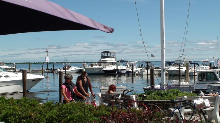 A view of the marina from Kismet Inn is shown in Fire Island.
