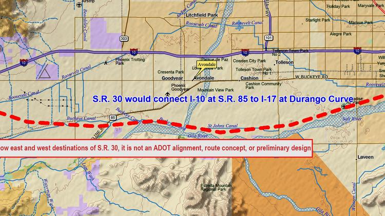 State Route 30 will run from Interstate 10 at S.R. 85 in Buckeye on a 30 mile alignment to I-17 at the Durango Curve in Phoenix.