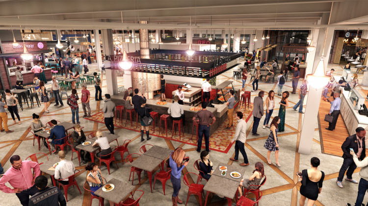 One of the new features of the mall will be Quarter Market, a multi-faceted food hall that combines a range of different eat-in and takeaway options.