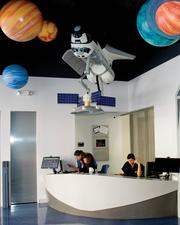 A view of the of the new office, which features an outer space theme.