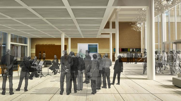 A rendering of the Rothko Pavilion's north lobby.