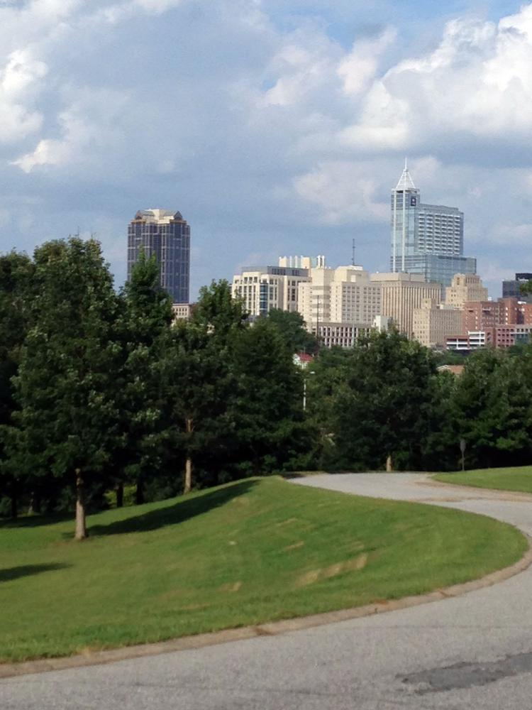A view of the downtown Raleigh skyline.