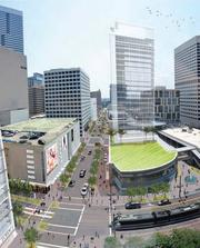 Downtown Retail Task Force report. Vision for Main and Dallas, birds-eye view.