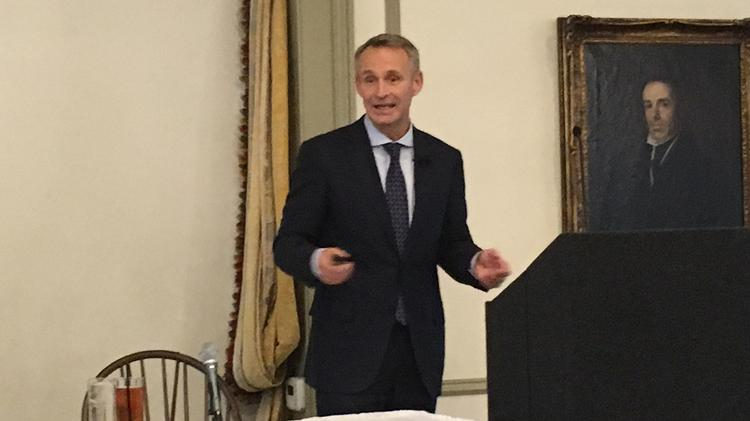 Jonas Prising, chairman and CEO of ManpowerGroup, was the featured speaker at the Greater Milwaukee Committee meeting Monday.
