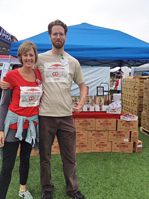 Heather Howell, chief tea officer of Rooibee Red Tea, and Mike Fulkerson, the company's national sales director, are shown on the grounds of Google Inc.'s headquarters in Mountain View, Calif., where they were offering tastings of their product to Google employees.