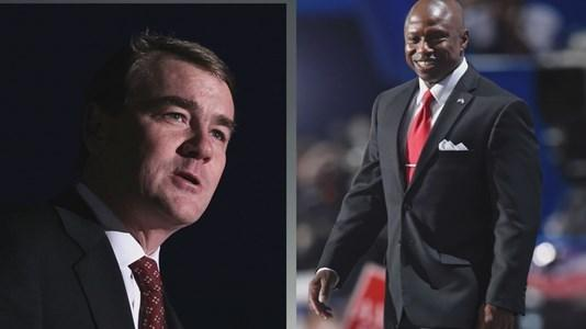 U.S. Senate candidates Michael Bennet (left) and Darryl Glenn.