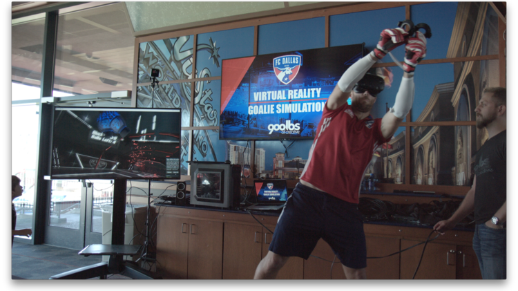 The virtual reality game gives users the chance to see what the goalie sees.