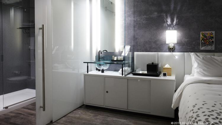 A 'deconstructed bathroom' sits on display in a Renaissance brand sample hotel room in the Innovation Lab at the Marriott International Inc. headquarters in Bethesda, Maryland.