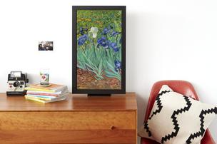 Electric Objects' new E02 digital art display with black frame from Electric Objects displays a digitized version of Vincent Van Gogh's