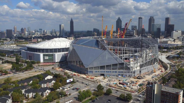 Mercedes benz stadium fixed roof complete construction for Atlanta ga mercedes benz stadium