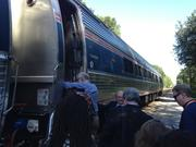 All aboard! Officials, real estate professionals and I boarded the Amtrak Silver Star in DeLand bound for Kissimmee during the SunRail sneak peek ride-along.