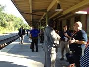 Attendees gathered on the platform in the DeLand Amtrak Station, awaiting the Silver Streak train coming in from New York.