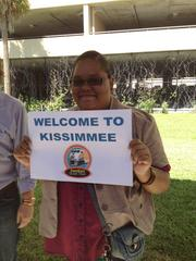 Attendants welcome SunRail ride-along members to the Kissimmee station.