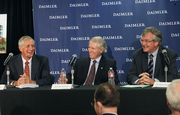 Portland Mayor Charlie Hales (left) and Oregon Gov. John Kitzhaber helped share the news that Daimler would build a 265,000-square-foot facility next to its existing Swan Island location. The city and state are kicking in a combined $19.5 million in tax credits and other incentives to Daimler.