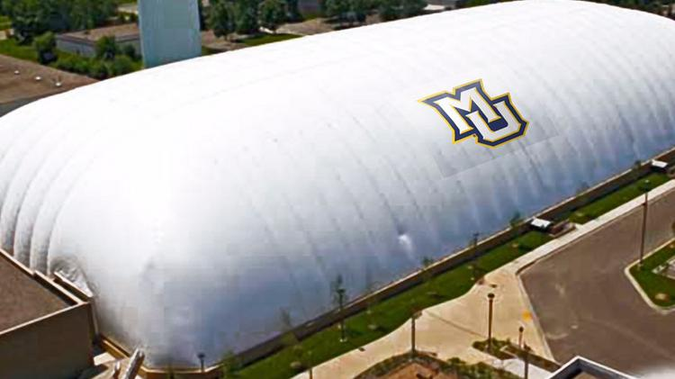 Rendering of the new seasonal dome at Marquette University's Valley Fields athletics complex.