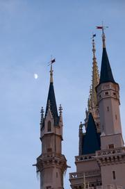 Even Cinderella Castle looks a little eerie with the moon rising behind it.