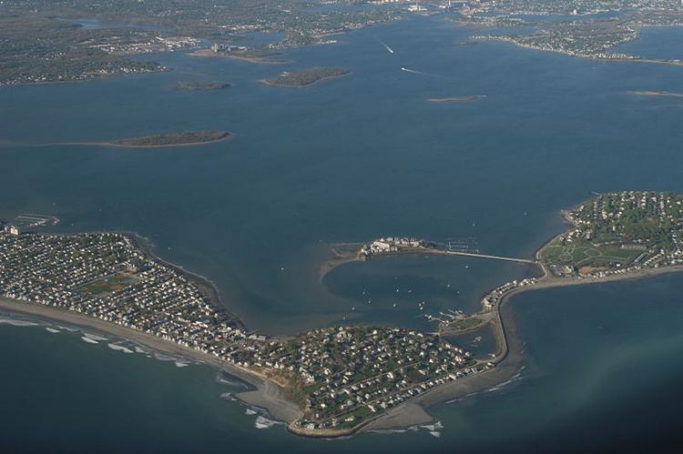 An aerial view of coastal development on Hingham Bay with Hull, Mass., in the foreground. Homeowners in Hingham and other South Shore towns are up in arms over new FEMA flood maps that will hike property insurance rates.
