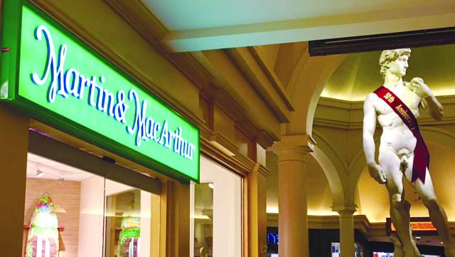 Martin & MacArthur's new store in Las Vegas is located in Caesars Palace, near the replica of Michelangelo's David.