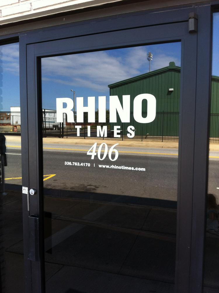 The front door to the new offices of The Rhino Times, the weekly newspaper based in Greensboro that replaces The Rhinoceros Times and resumes publishing Thursday.