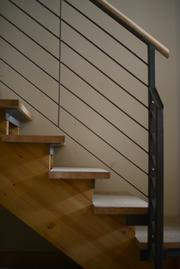 A modern staircase in one of the lofts.