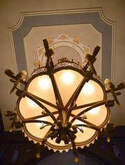 Chandeliers and other regal decorative touches are everywhere.