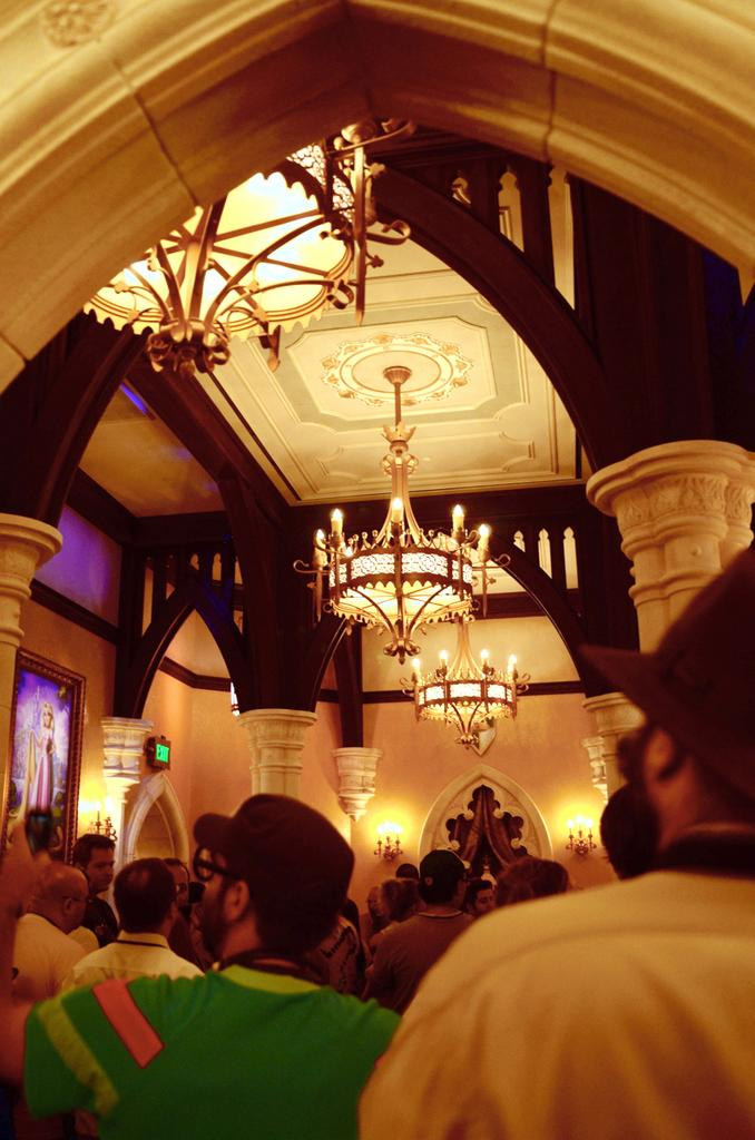 The Princess Fairytale Hall queue takes guests through the Royal Gallery, where they experience the royal air conditioning.