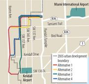 A map shows alternatives for an extension of the Dolphin Expressway. Krome Avenue appears to be the most likely route because other paths go through already developed areas.