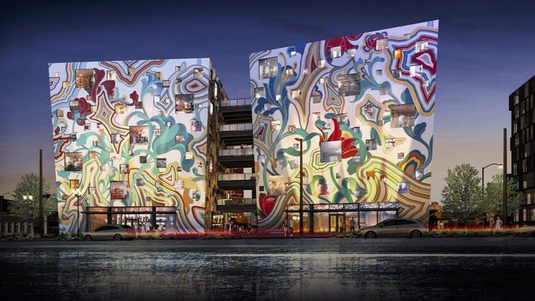 The artistic facade of the Fair-Haired Dumbell has been approved by the Portland Design Commission. The artwork, designed by L.A. artist James Jean, will be hand-painted by local artist Dan Cohen.