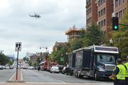 Helicopters made constant sweeps over the Washington Navy Yard
