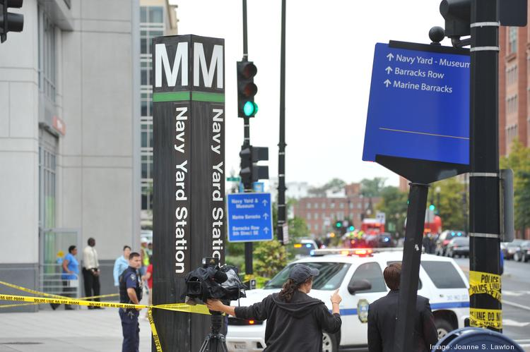 Employers in the Navy Yard area were forced to respond to a 'fairly chaotic' situation Monday as emergency crews responded to a shooting at the military base.