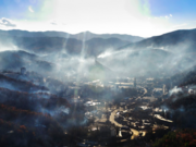 An aerial view of fire damage in Gatlinburg