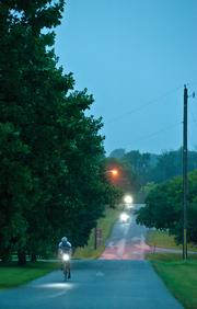 Two or three times a week, Jones and a group of bicycle enthusiasts make an early morning trek from St. Matthews to deep in Oldham County and back. The part of the route shown here is along Halls Hill Road.