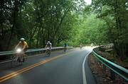 The group makes their way through a wooded portion of Brownsboro Road near Norton Commons.