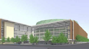 This rendering shows the design of the proposed Sodo arena in Seattle as presented in August 2013.