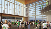 A bar with a view of Mount Rainier is planned in the new design for a basketball arena in Seattle's Sodo arena. The mountain is visible in this rendering, though clouds would certainly obscure it on some days.