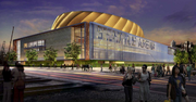 Pedestrians would cross railroad tracks on the south side of the arena to reach the building, as shown in this rendering of latest design. The Seattle arena would have only 102 parking stalls; fans would park in surrounding lots and garages. According to a packet submitted to the city, 81 percent of the fans would arrive by car.