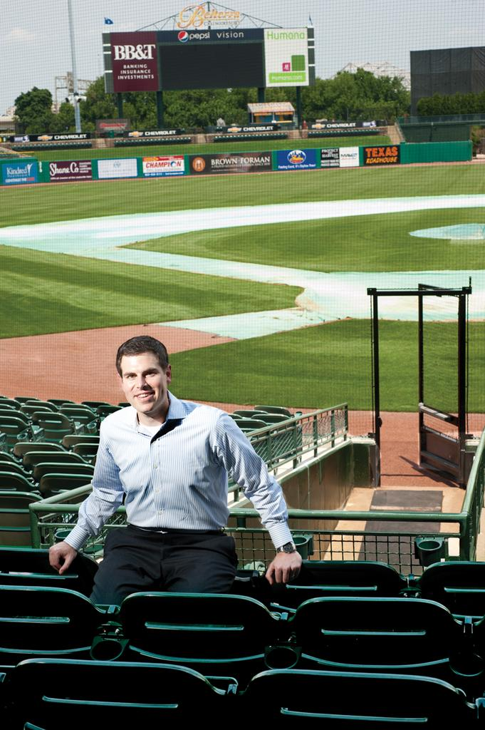 Jay Baribeau is pictured at Louisville Slugger Field on East Main Street.