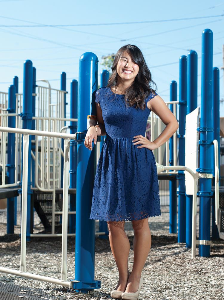 Jean Lee is shown on the playground at Lincoln Elementary school on East Main Street.