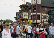 A traditional Glockenspiel sits in a square in Mt. Angel during Oktoberfest celebration.