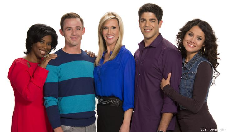 RightThisMinute hosts, from left to right: Gayle Bass, Steven Fabian, Beth Troutman, Nick Calderone and Christian Vera.