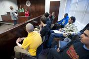 A mock court case took place in a mock courtroom at Seneca High School.