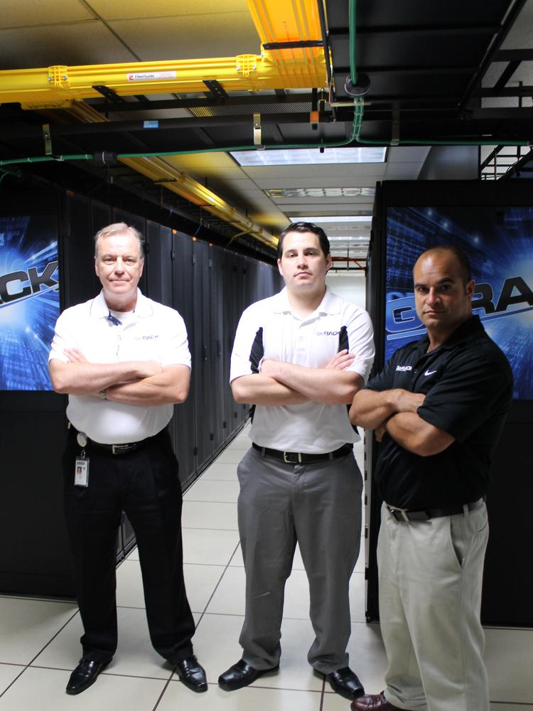 GoRACK General Manager Larry Ward, Chief Operations Officer Curtis Tyree, and CEO Mark Marques. Located on the third floor of Jacksonville's Federal Reserve Bank, the 4-year-old company hasn't marketed to local companies until recently.