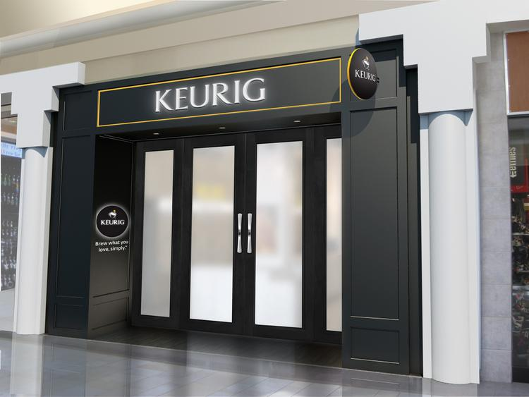 A drawing of the Keurig Store set to open in the Burlington Mall this fall.
