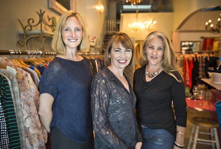 The brains behind the Ruby Ribbon operation pose at a trunk show at Los Gatos boutique Bella Rosa. From left to right: Katherine Barr, general partner at venture capital firm Mohr  Davidow; Anna Zornosa, Ruby Ribbon founder and CEO; Patti Cazzato, chief merchandising officer of Ruby Ribbon.
